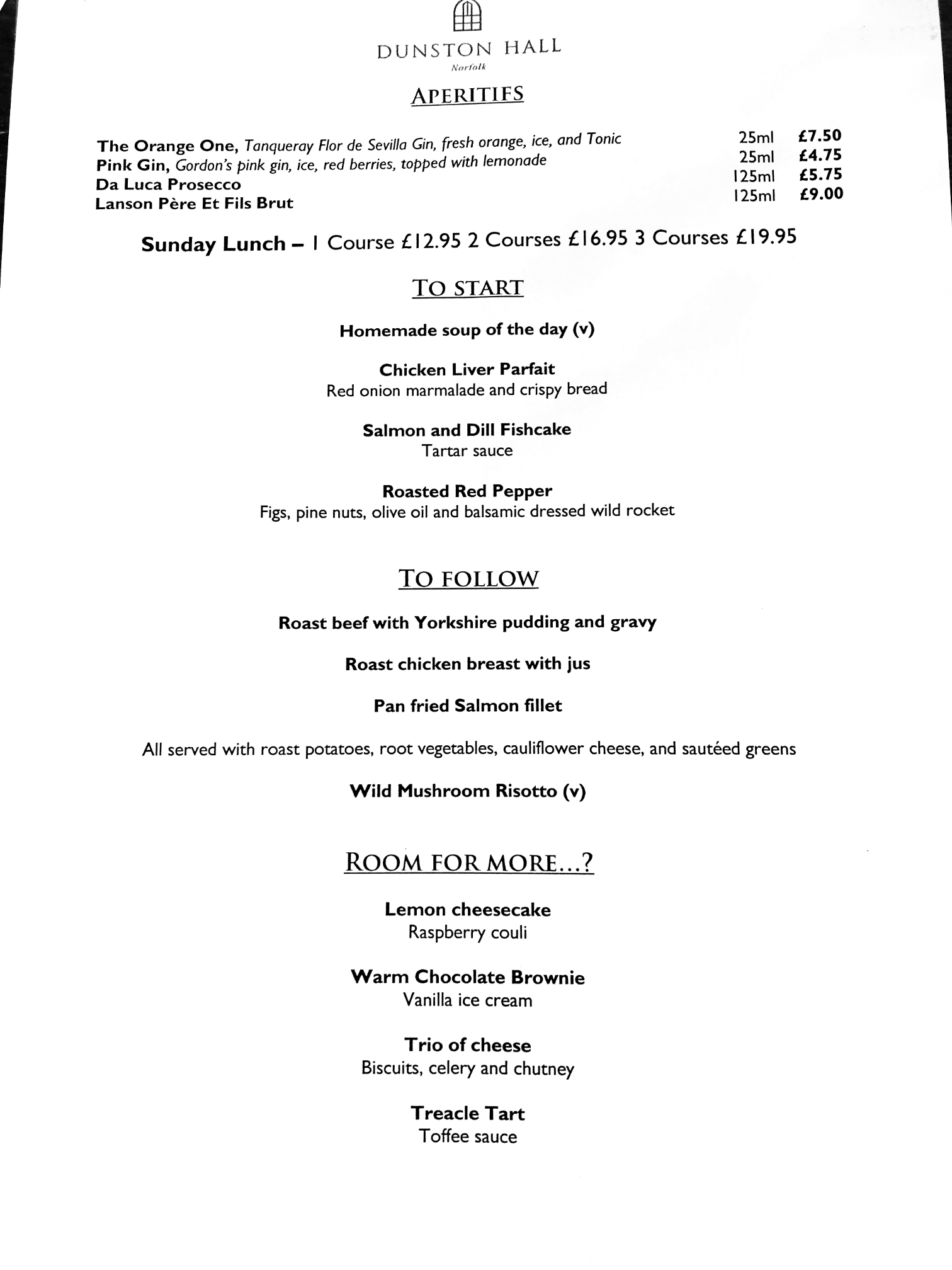 The Menu at The Brasserie