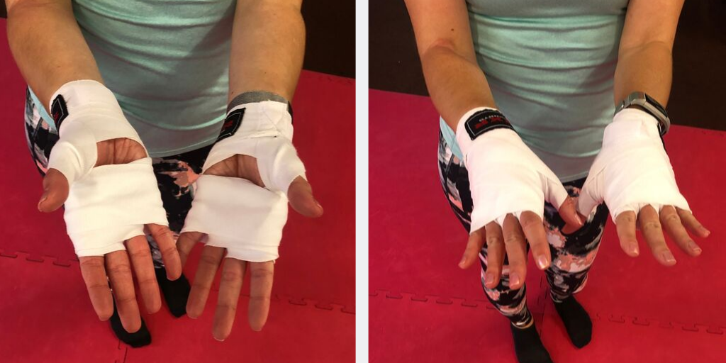 Bound hands for kickboxing