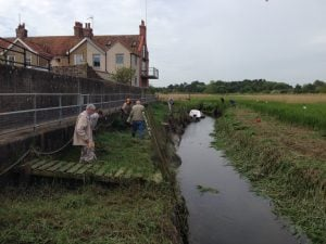 Clearing banks at Cley Harbour